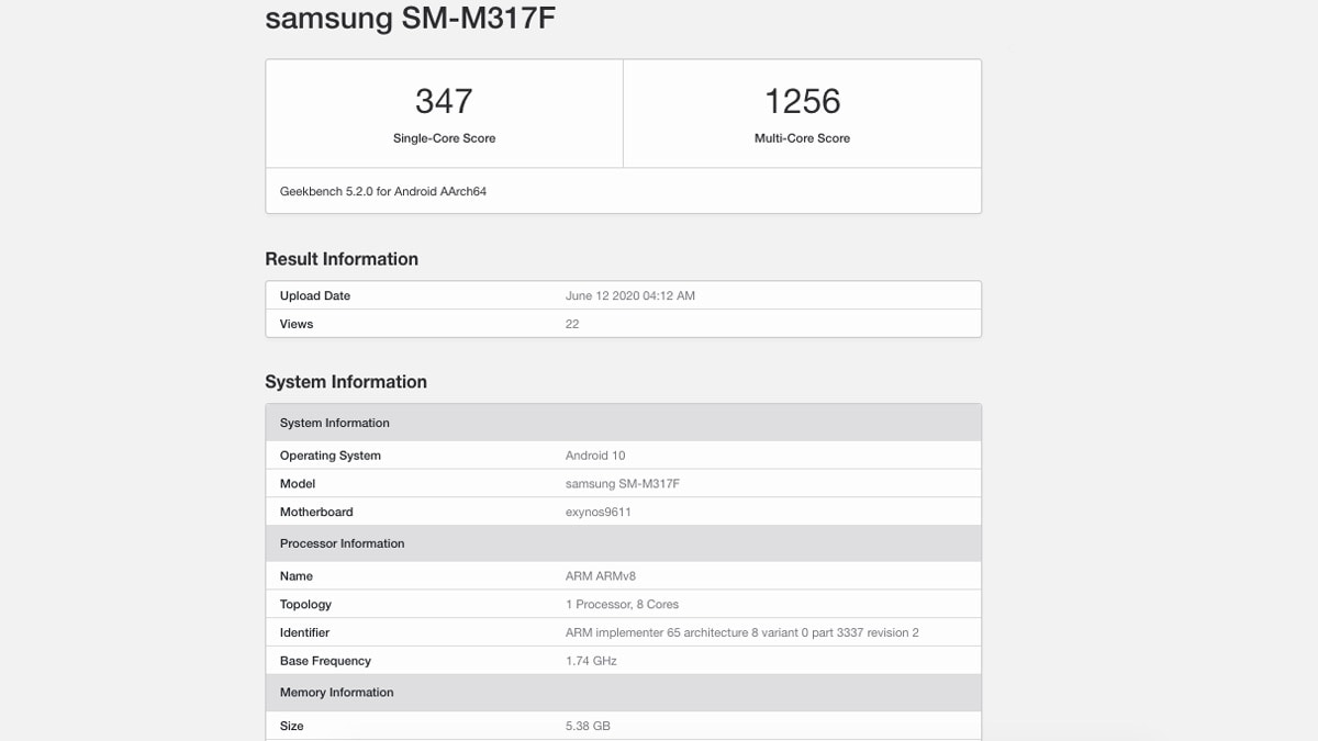 Samsung Galaxy M31s Spotted on Geekbench, Exynos 9611 SoC Tipped