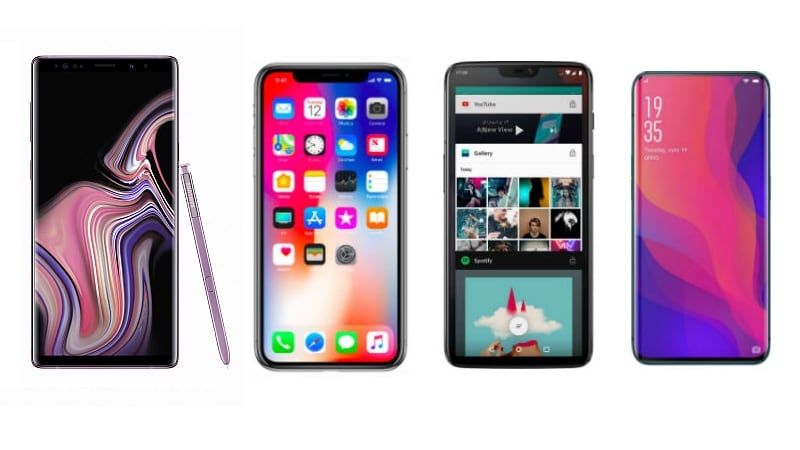 b0dc31cd1a6 Samsung Galaxy Note 9 vs iPhone X vs OnePlus 6 vs Oppo Find X  Compare Price
