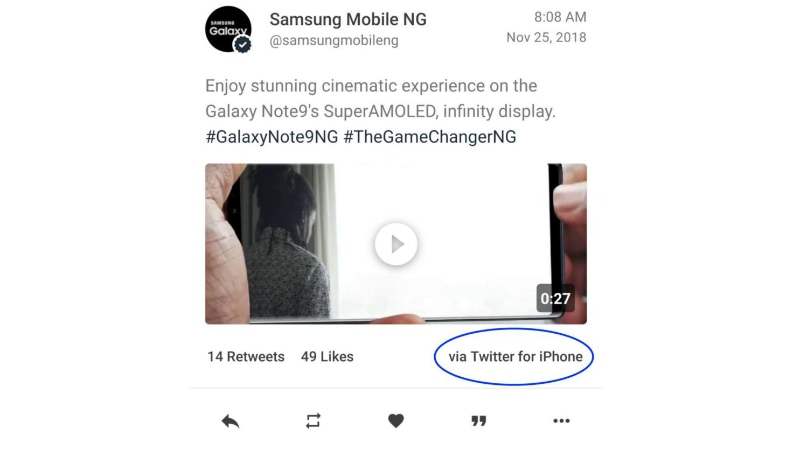samsung galaxy note 9 promotion using iphone twitter marques brownlee Samsung