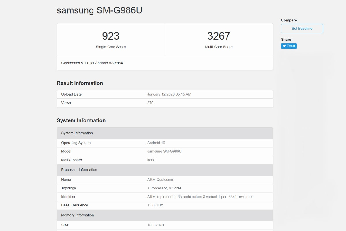 samsung galaxy s20 plus geekbench screenshot Samsung Galaxy S20 Plus  Samsung