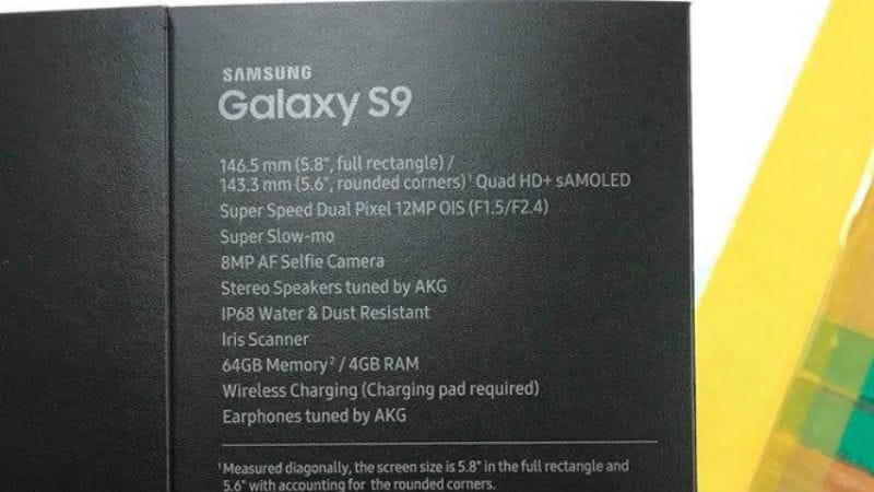 Samsung Galaxy S9 Specifications and Features Leaked via Retail Box