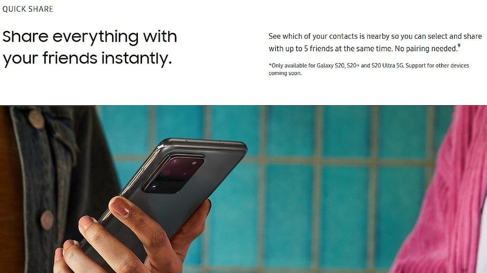 Quick Share Feature Debuts With Galaxy S20 Lineup, Samsung's Answer to Apple's AirDrop