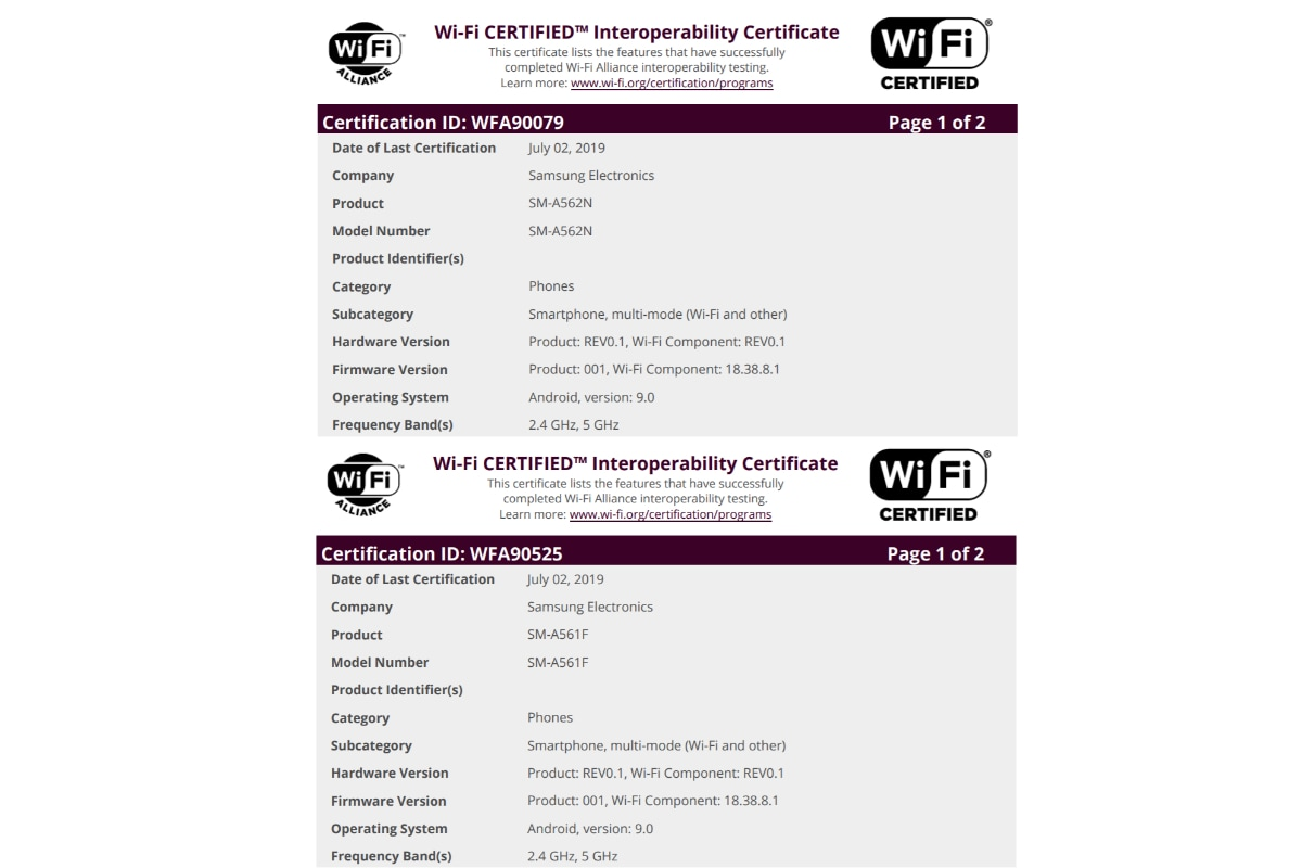 samsung sm a562n a561f wi fi alliance Samsung