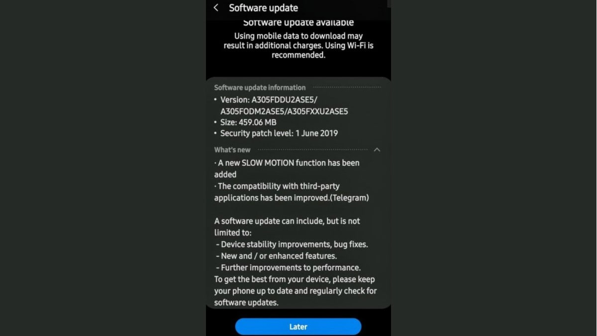 Samsung Galaxy A30 Update Brings Slow-Motion Mode, June 2019