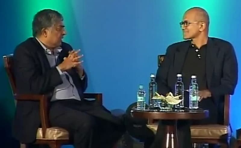 Satya Nadella and Nandan Nilekani Talk Aadhaar, India Stack, AI, and AR
