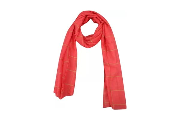 Best Winter Scarfs, Fabseasons Checkered Cotton Scarf - Pink & Gold