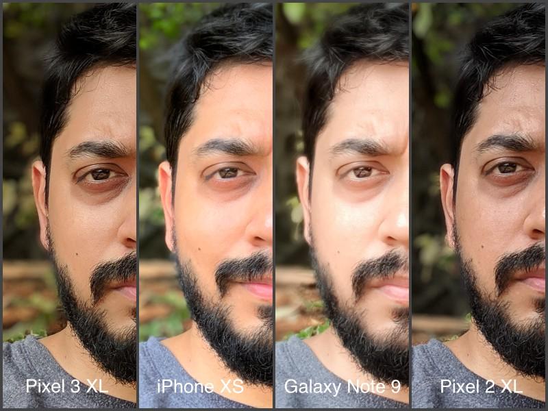 selfie portrait pixel 2 100 CROP camera compare