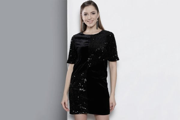 Best Sequin Dress in India - DOROTHY PERKINS Black Sequinned Velvet Finish A-Line Dress