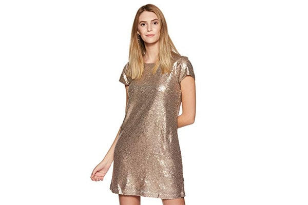 Best Sequin Dress in India - United Colors of Benetton Women's Shift Knee-Long Dress