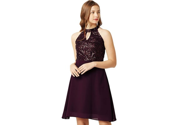 Best Sequin Dress in India - Miss Chase Sequin Skater Dress