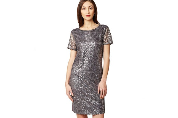 Best Sequin Dress in India - Miss Chase Women's Grey Sequin Shift Dress