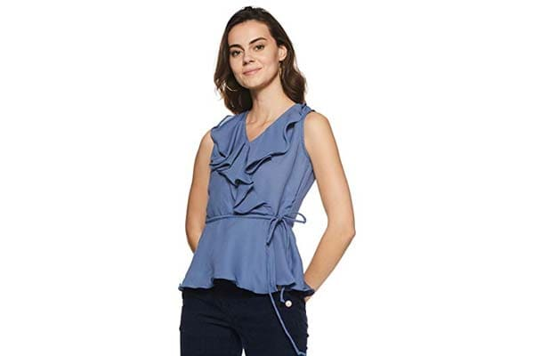 Women's Sleeveless Shirts in India - Miss Chase Women's Blue Ruffled Top