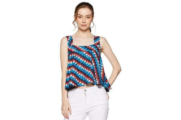 Women's Sleeveless Shirts in India - global desi Women's Tribal Regular Fit Top
