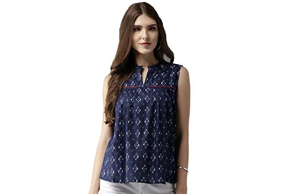 Women's Sleeveless Shirts in India - Amayra Women's Cotton A-Line Printed Top