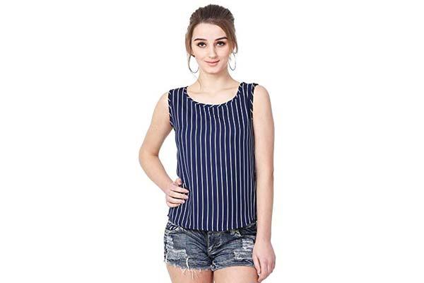 Women's Sleeveless Shirts in India - MALLORY WINSTON Women Navy Stripe Sleeveless Top