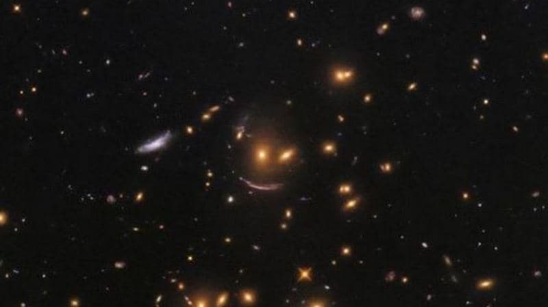 Hubble Space Telescope snaps smiley-shaped cluster of galaxies