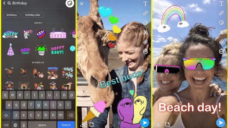 snapchat adds gif stickers from giphy introduces stories and