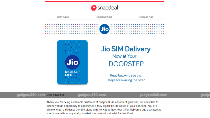 Reliance Jio SIM Cards Home Delivery via Snapdeal Soon