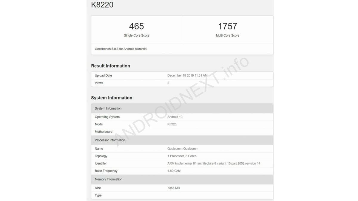 sony k8220 geekbench androidnext Sony K8220 Geekbench