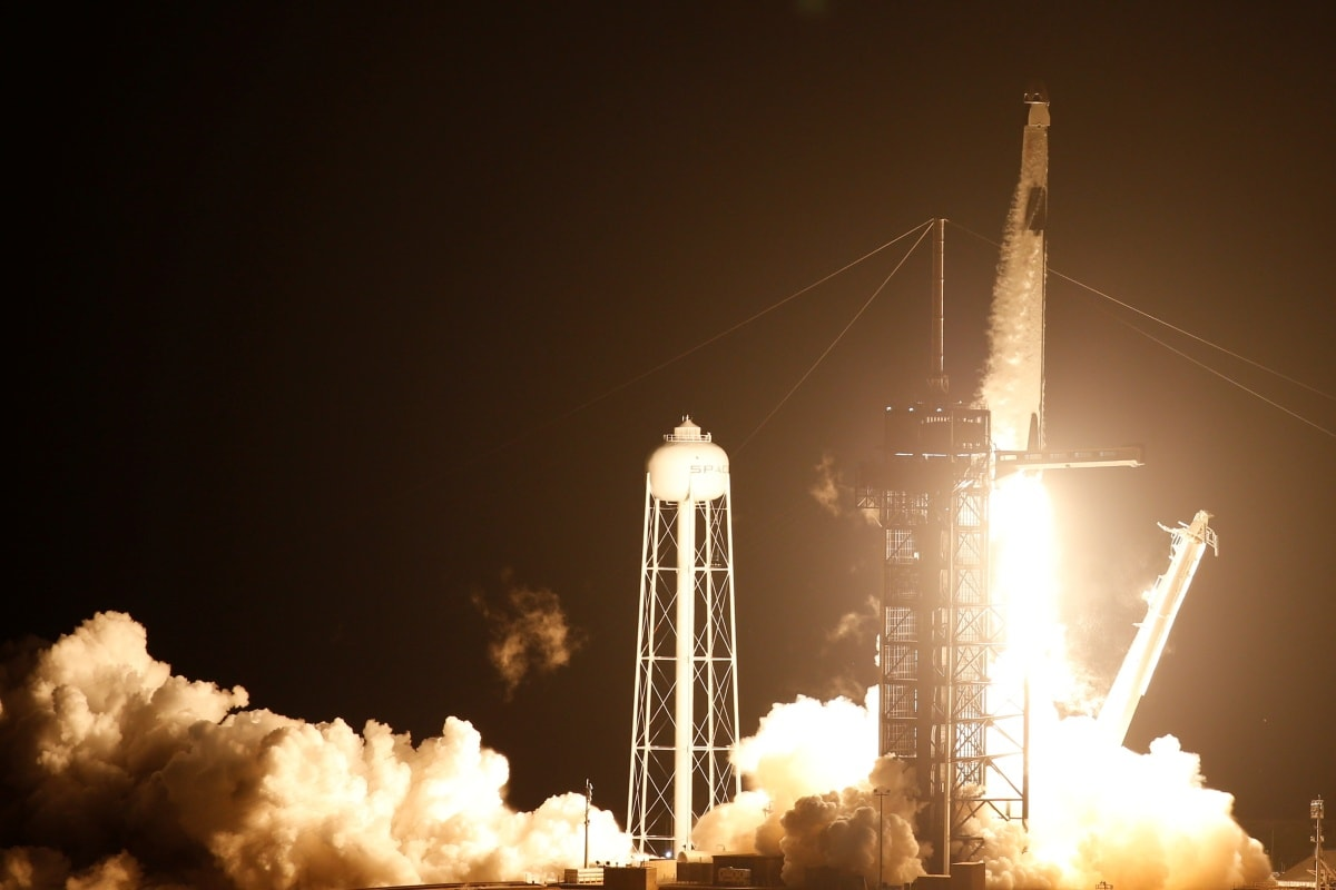 SpaceX Crew Dragon Capsule Resilience Carrying Four Astronauts Docks With International Space Station