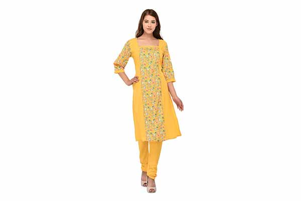 best spring clothes in india Patrorna Blended Women's Kurti and Chudidar Set In Yellow