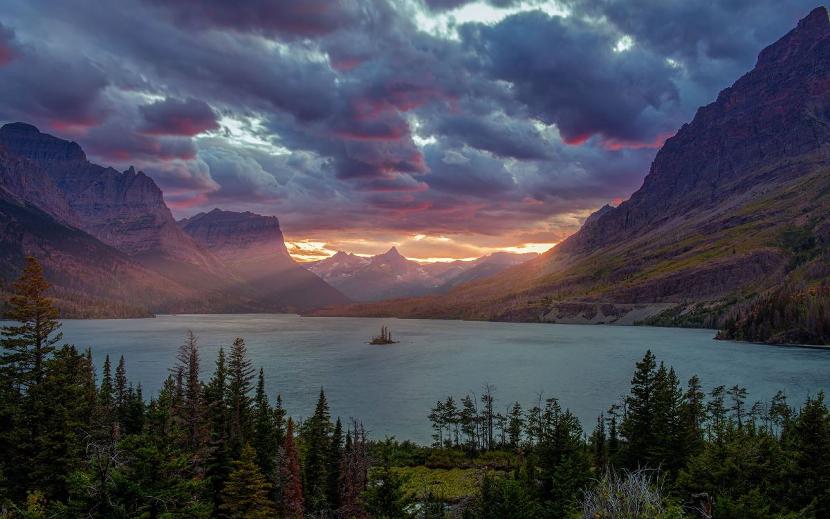 st mary lake sunset image gaurav agrawal Wallpaper