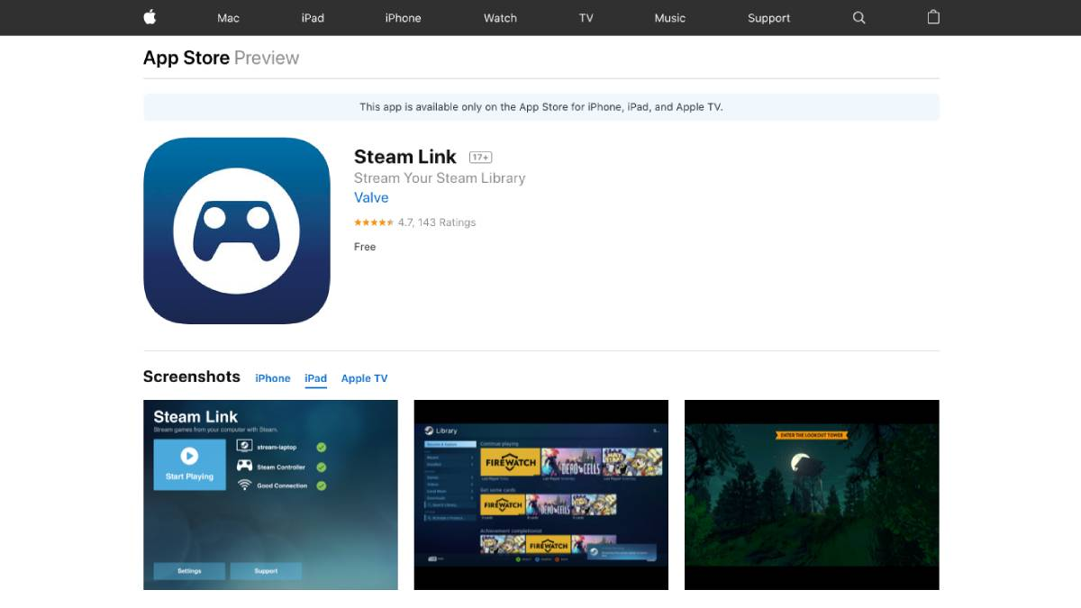 Steam Link Game Streaming App Now Available for iPhone, iPad, and Apple TV