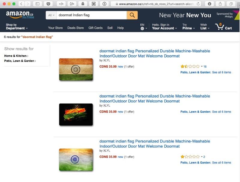 Amazon Canada Sells Indian Flag Doormats, Sushma Swaraj