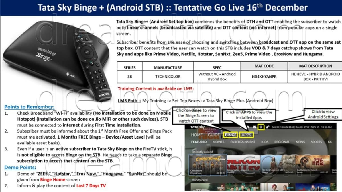 tata sky binge plus android set top box brochure dreamdth Tata Sky Binge Plus