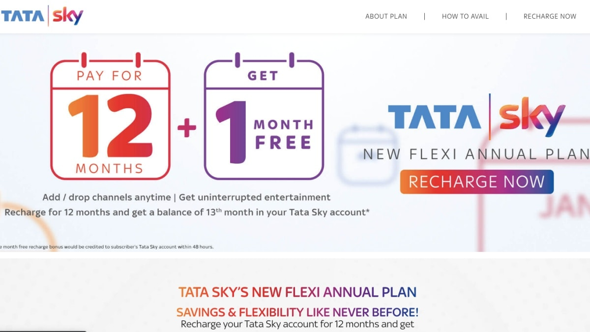 Tata Sky New Flexi Annual Plan Launched With One-Month Free Subscription, Other Offers