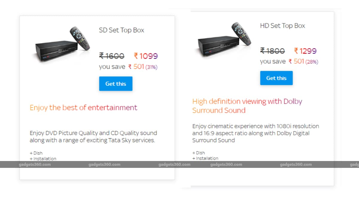 Tata Sky HD, SD Set-Top Box Price in India Cut Again, Now Starts at Rs. 1,099