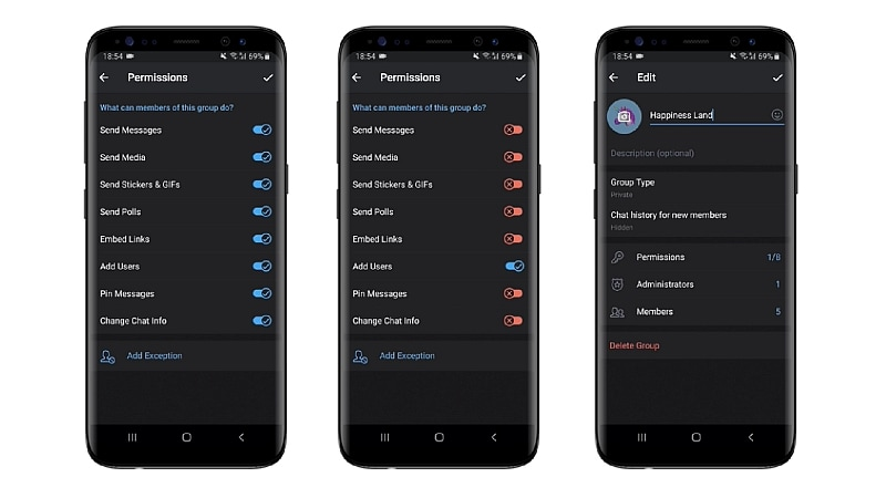 Telegram v5 2 Adds Group Permissions, Ability to Undo
