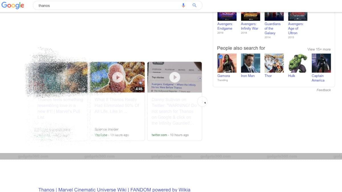 Avengers: Endgame Villain Thanos Snaps Fingers, Vaporises Google Search Results