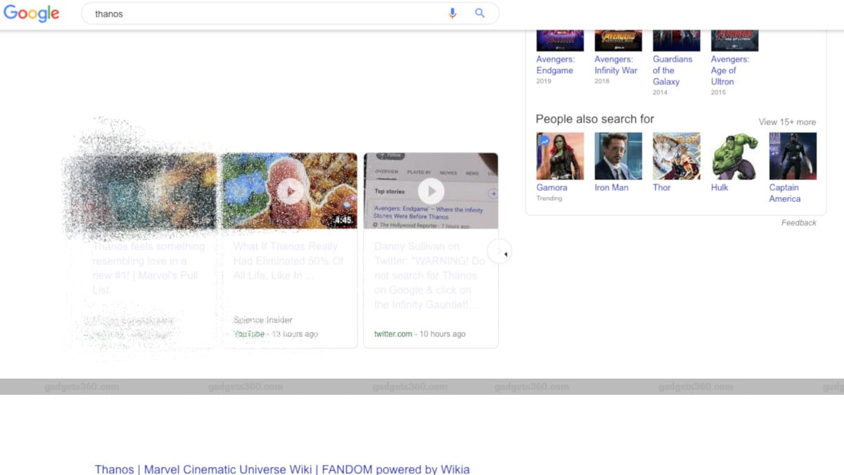 Avengers: Endgame Villain Thanos Snaps Fingers, Vaporises Google Search Results