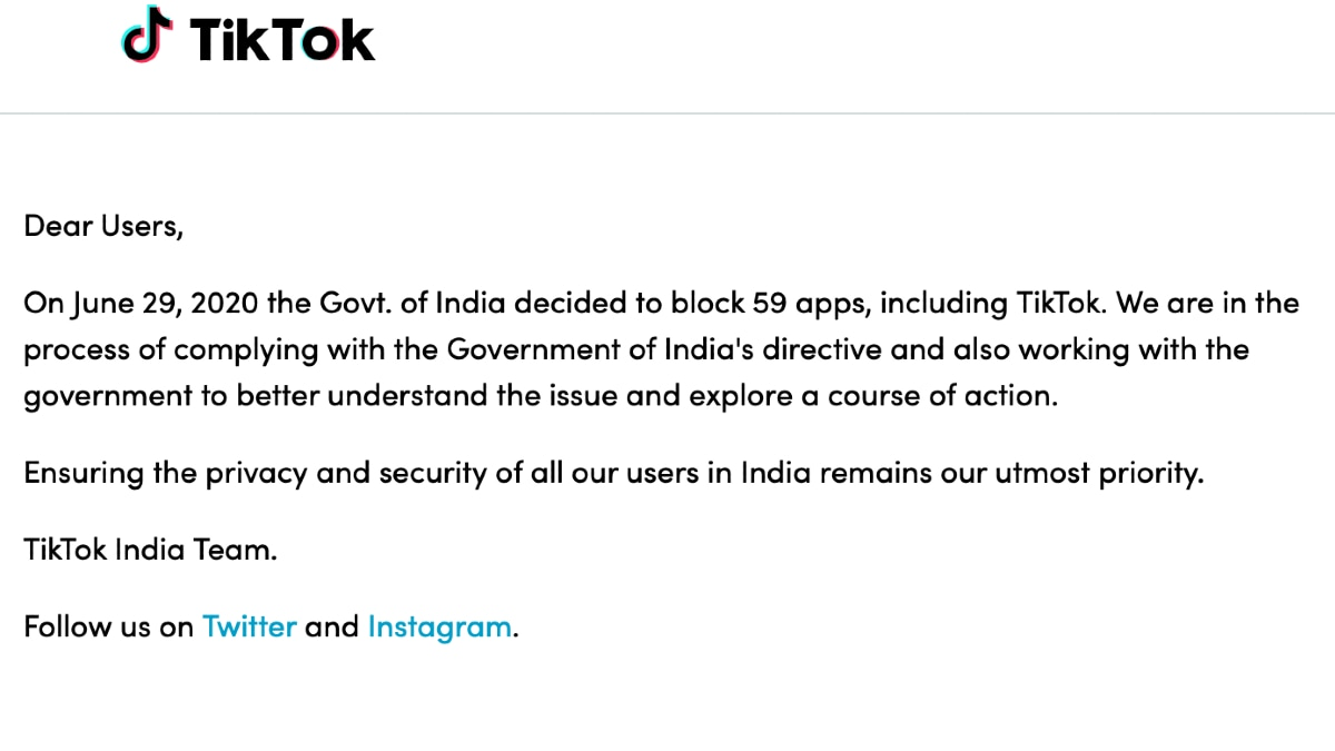 Indian government bans 59 Chinese-owned apps, including TikTok