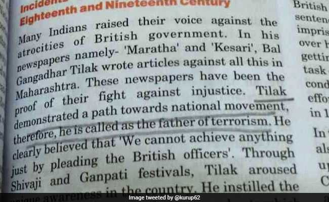 Image result for Bal Gangadhar Tilak 'father of terrorism', says class 8 Social Studies book