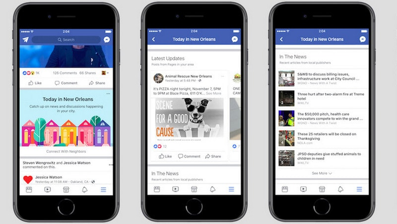 Facebook tests app section for local news and events