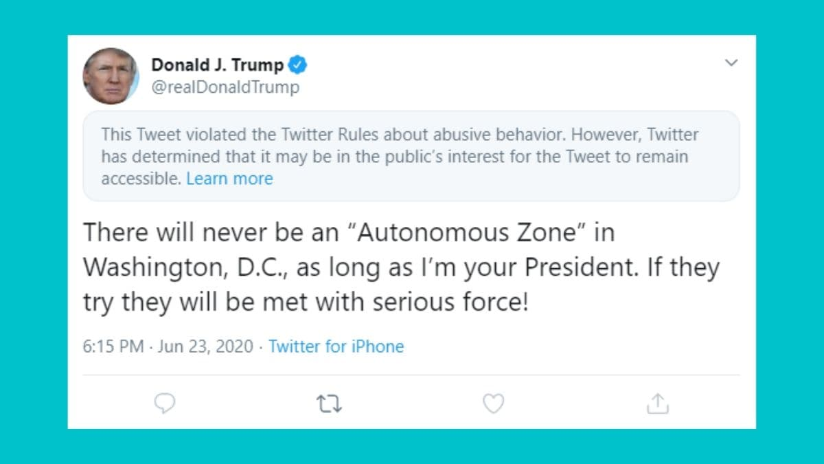 Twitter Hides 'Abusive' Tweet by US President Donald Trump Targeting Protestors