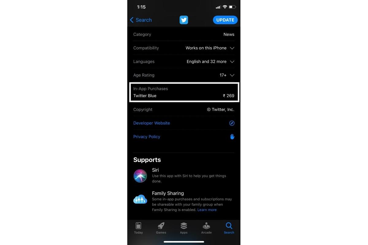 twitter blue listing app store screenshot gadgets 360 Twitter Blue