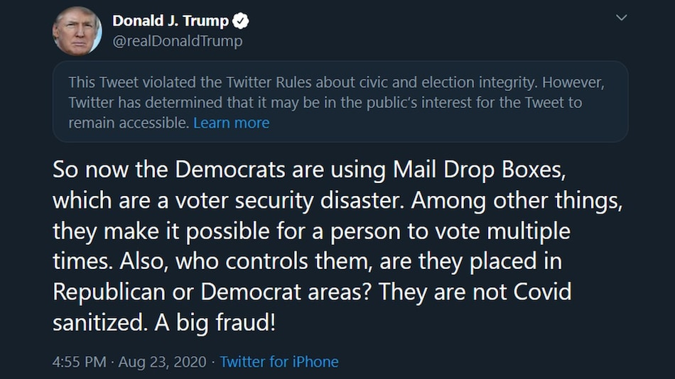 Twitter Attaches Disclaimer on Trump's 'Mail Drop Boxes' Tweet