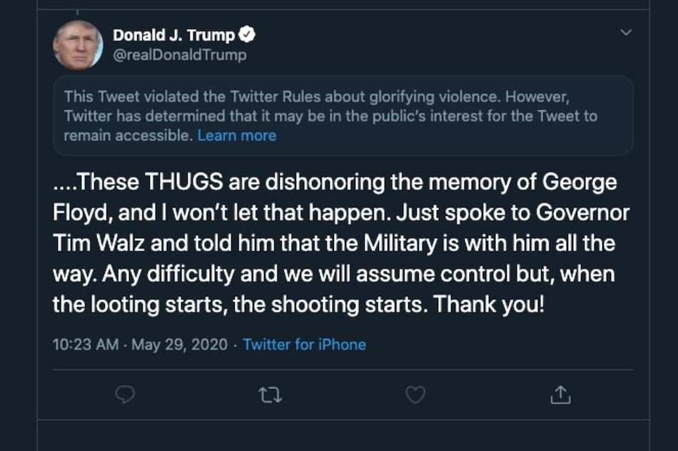Twitter Places Public Interest Notice on US President Donald Trump's Tweet for 'Glorifying Violence'
