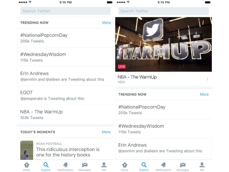 Twitter's Explore Tab Combines Trends, Moments, Search, and Live Video