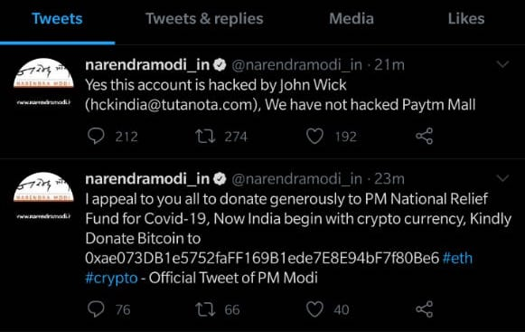 twitter hack screenshot john wick twitter modi hack