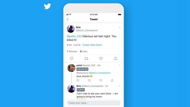 Twitter Says It's Testing Labels on Replies, Such as Author, Mentioned, and Following