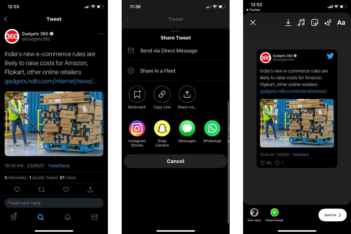 twitter tweets sharing instagram stories screenshots gadgets 360 Twitter  Instagram