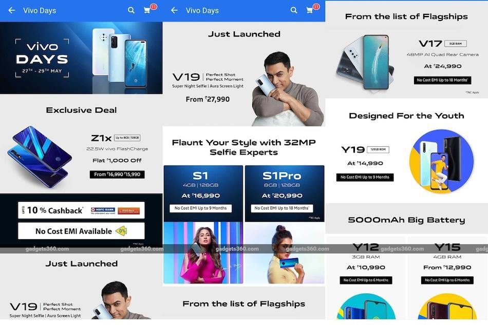 Vivo Days Sale Kicks Off on Flipkart With Cashback Offers, No-Cost EMI Options