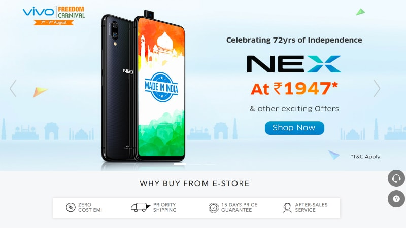 vivo freedom carnival sale kicks off with vivo v9 vivo nex flash