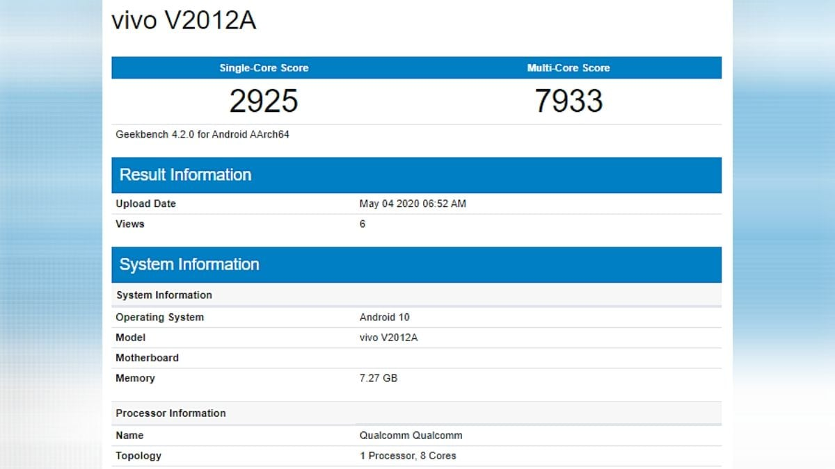 Mysterious Vivo Phone With 8GB RAM, Octa-Core Qualcomm SoC Spotted on Geekbench