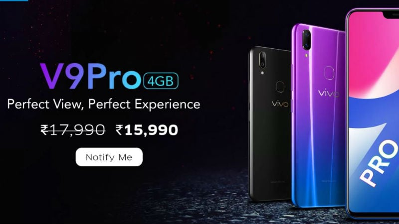 Vivo V9 Pro 4GB RAM Variant to Become Available in India During Flipkart Diwali Sale, at Rs. 15,990