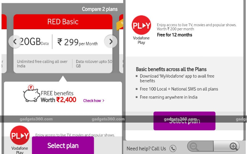 Vodafone RED Entertainment Rs 399 plan